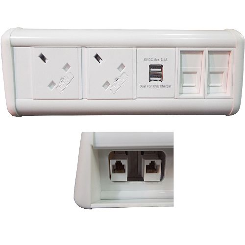 Maxi Unit 2 Power, 1 USB &2 Data Couplers - 3.4A USB - 5V - Charger