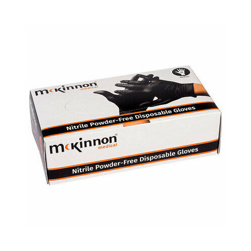 McKinnon Black Nitrile LARGE Disposable Gloves Case of 10 (1000) MB100LC