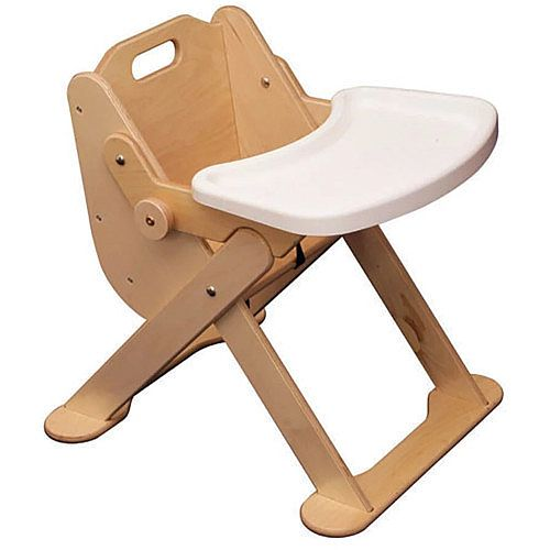 Folding Low Level Wooden Feeding Chair with Tray Birch