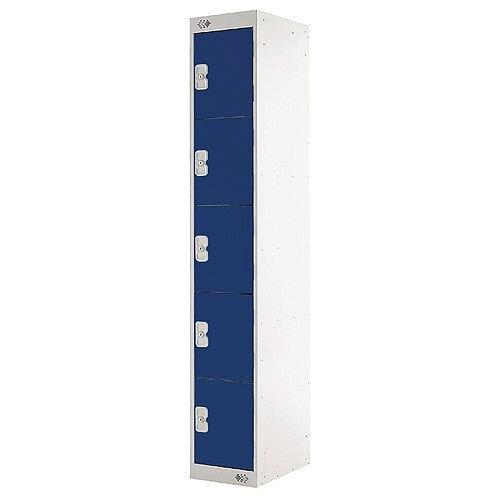 Five Compartment Locker Blue Door 300mm Deep MC00025