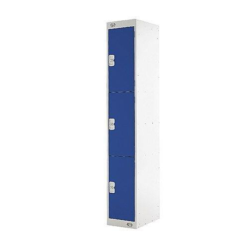 Three Compartment Locker Blue Door 450mm Deep MC00049