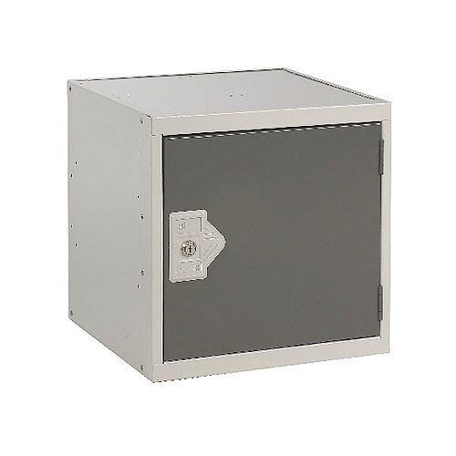 One Compartment Cube Locker Light Grey Body &Dark Grey Door 300x300x300mm MC00087