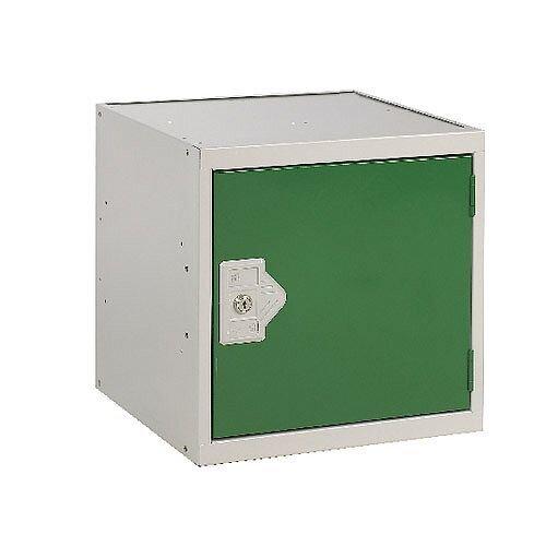 One Compartment Cube Locker Light Grey Body &Green Door 300x300x300mm MC00088
