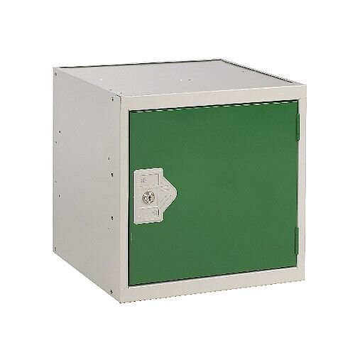One Compartment Cube Locker Light Grey Body &Green Door 450x450x450mm MC00100