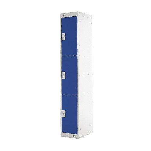 Standard Three Compartment Locker Light Grey/Blue W300xD450xH1800mm MC00157