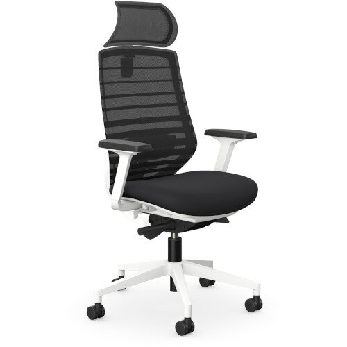 X.77 Office Operator Chair with Adjustable Lumbar Support &Headrest White Frame &Black Seat