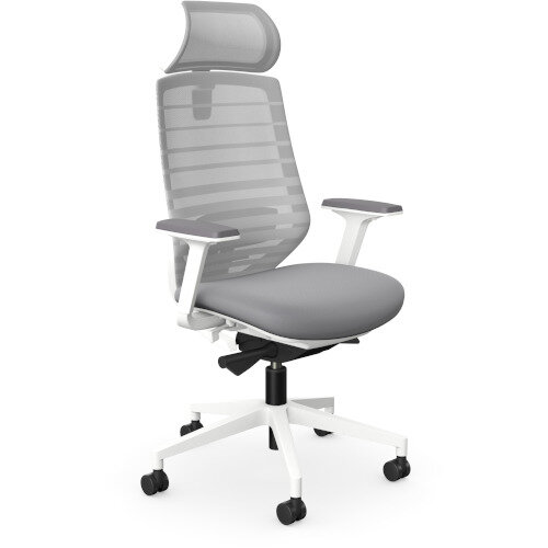 X.77 Office Operator Chair with Adjustable Lumbar Support &Headrest White Frame &Grey Seat