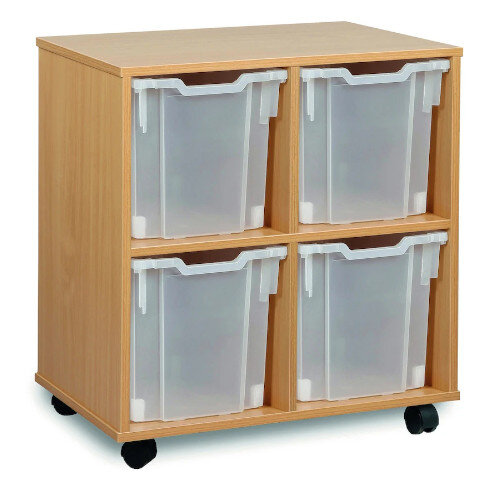 Tray Storage Unit With Four Jumbo Trays Clear H739mm