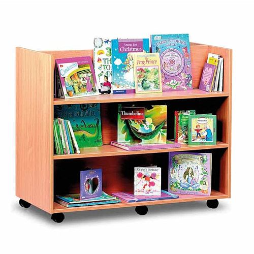 Library Unit with 3 Horizontal Shelves on Each Side Birch