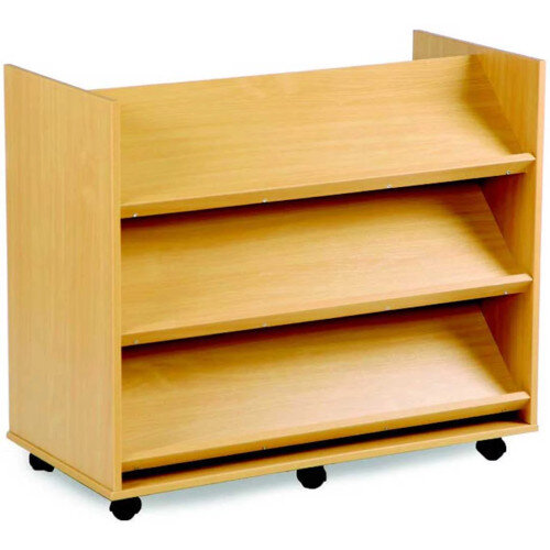 Double sided Library Display Unit with Angled Shelves