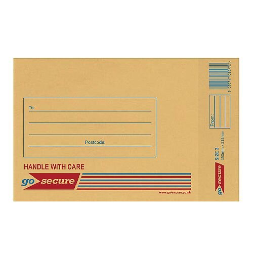 GoSecure Size 3 Bubble Lined Envelope 150x215mm Gold Pack of 100 ML10042
