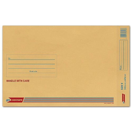 GoSecure Size 9 Bubble Lined Envelope 300x445mm Gold Pack of 50 ML10058
