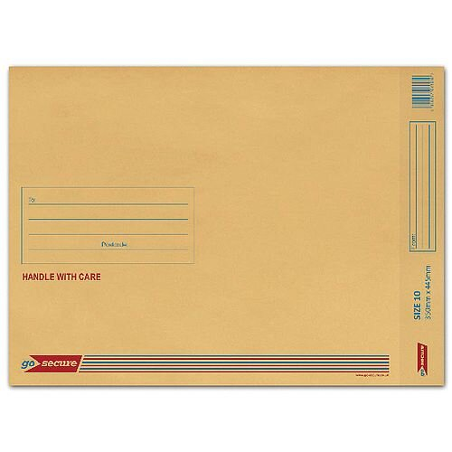 GoSecure Size 10 Bubble Lined Envelope 350x470mm Gold Pack of 50 ML100062