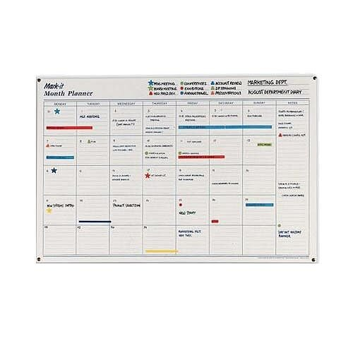 Mark-it Month Planner Laminated with Notes Column W900xH600mm – Accessory Kit, Box Per Day, Notes Column, Write On-Write Off &Reusable (MP)