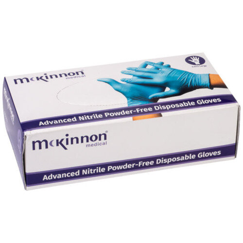McKinnon Nitrile MEDIUM Disposable Gloves Powder-Free (100) Box MN100M