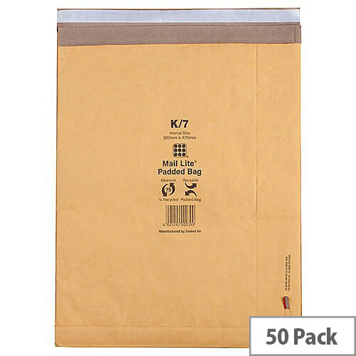 Mail Lite Padded Postal Bags Size J/6 314x450mm Gold Pack of 50