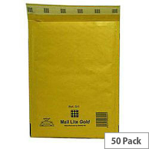 Mail Lite Bubble Lined Size G/4 240x330mm Gold Postal Bags Pack of 50