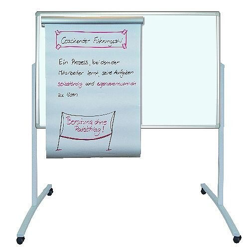Franken PRO Mobile Combi Flipchart Felt Pin Board 780x1250mm Grey MTF801312