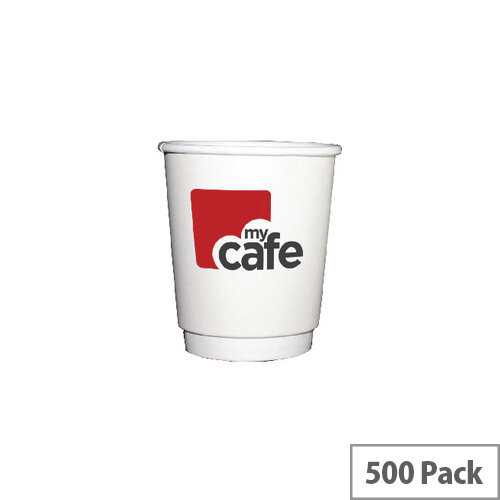 Mycafe 8oz/250ml Double Wall Disposable Hot Drink Paper Cups (500 Pack) HVDWPA08V