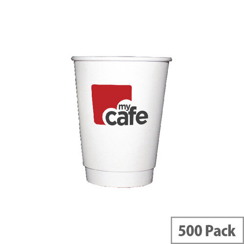 Mycafe 12oz/350ml Double Wall Disposable Paper Cups (500 Pack) HVDWPA12V