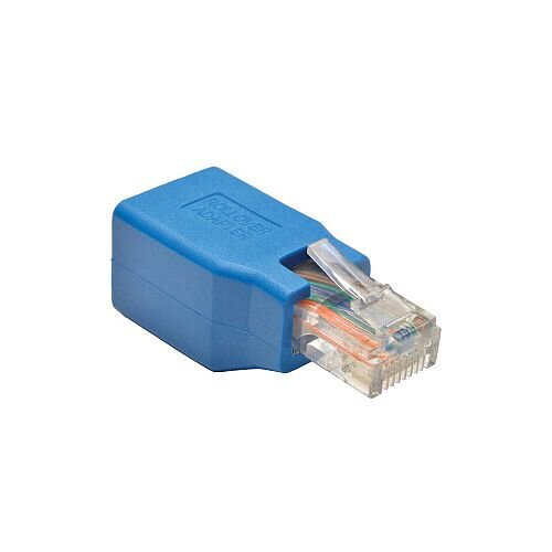 Tripp Lite N034-001 Data Transfer Adapter 1 x RJ-45 Male Network 1 x RJ-45 Female Network Blue