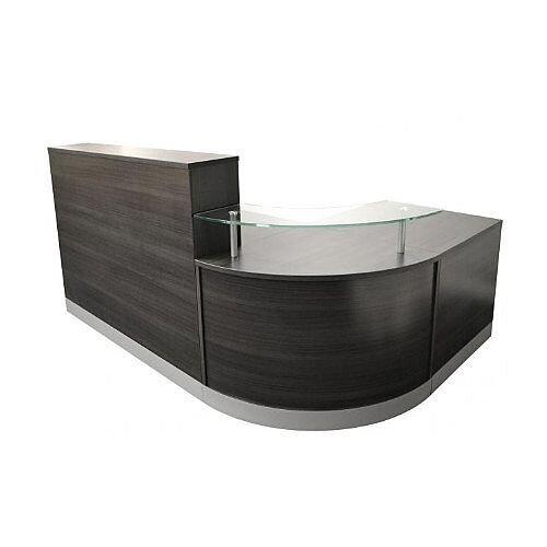 Complete Curved Reception Unit Anthracite Finish With Glass Counter