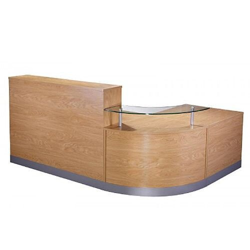 Complete Curved Reception Unit Crown Cut Oak Finish With Glass Counter