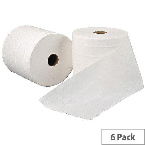 Leonardo 1 Ply White Hand Paper Towel Rolls 200m Long (6 Rolls) RTW200