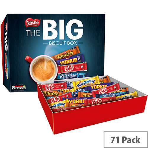Nestle Big Chocolate Biscuits Individually Wrapped Biscuits Assorted Box. Includes: Breakaway, Kit Kat, Toffee Crisp, Yorkie, Blue Riband. Ideal For Use In Canteens, Offices, Receptions &More. Pack Of 71