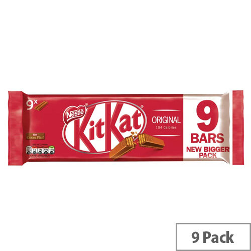 Nestle Kit Kat Milk Chocolate 2 Finger Bars Chocolate Covered Wafer Biscuits Individually Wrapped (Pack 9)