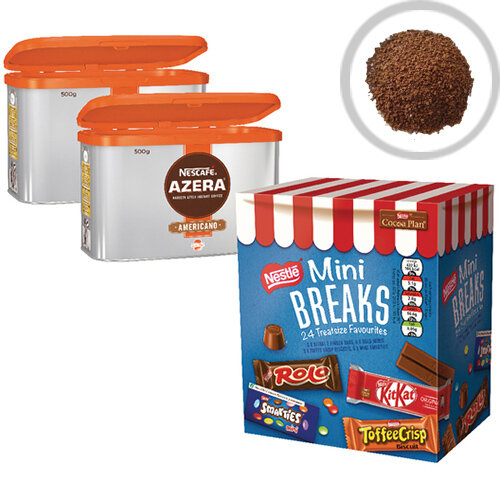 Nescafe Azera 2x500g FOC Mini Breaks Mixed Selection Pack of 24 NL819843