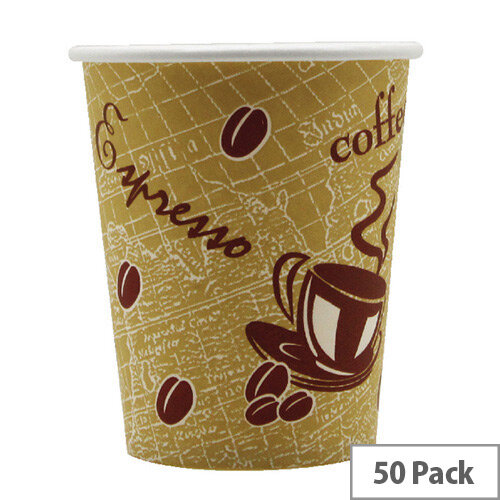 And Supplier Hot Drink Cafe Disposable Single Wall Paper Cups 12oz 350ml Pack Of 50