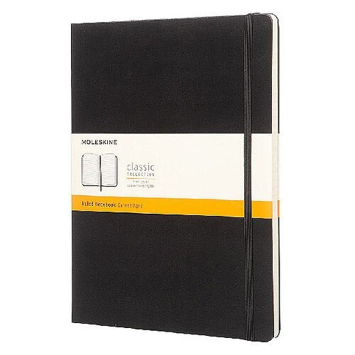 Moleskine Notebook Hard Cover Ruled Extra Large Black QP090
