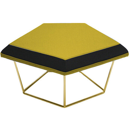 Frovi NEST Modular Stool With Vintage Brass Wire Frame H430xW850xD680mm - Fabric Band C