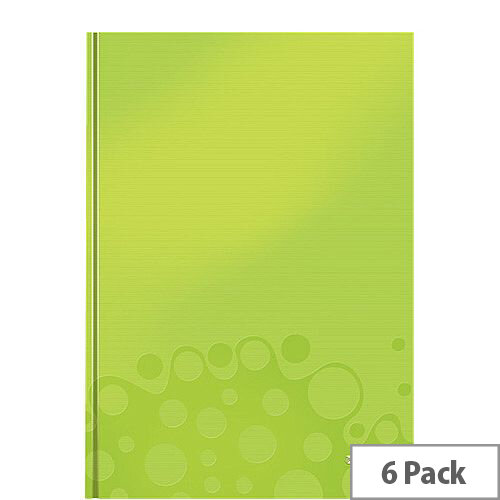 Leitz WOW Hardcover Notebook A4 Green Pack of 6