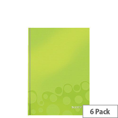 Leitz WOW Hardcover Notebook A5 Green Pack of 6