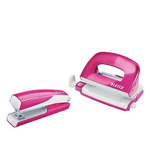 Leitz WOW Mini Stapler and Hole Punch Set Metallic Pink