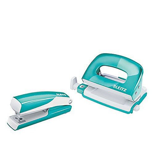 Leitz WOW Mini Stapler and Hole Punch Set Ice Blue