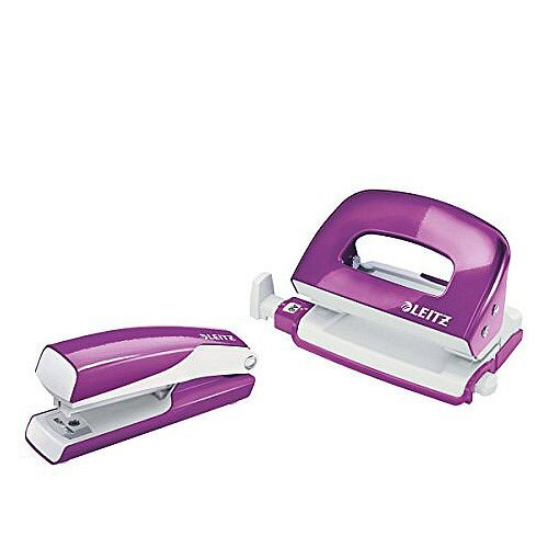 Leitz WOW Mini Stapler and Hole Punch Set Purple