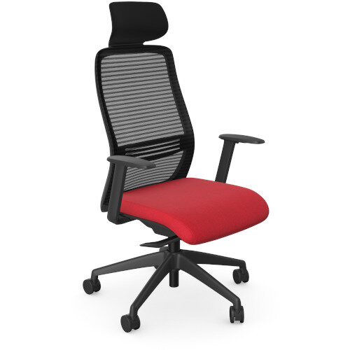 NV Posture Office Chair with Contoured Mesh Back and Adjustable Lumbar Support &Headrest Black Frame Red Seat