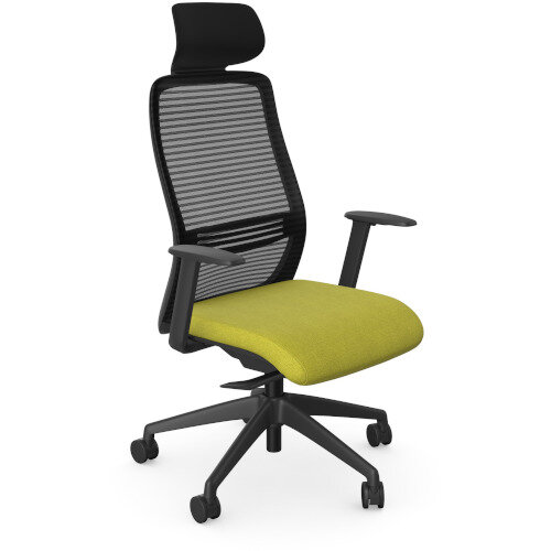 NV Posture Office Chair with Contoured Mesh Back and Adjustable Lumbar Support &Headrest Black Frame Mustard Seat