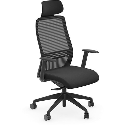 NV Posture Office Chair with Contoured Mesh Back and Adjustable Lumbar Support &Headrest Black