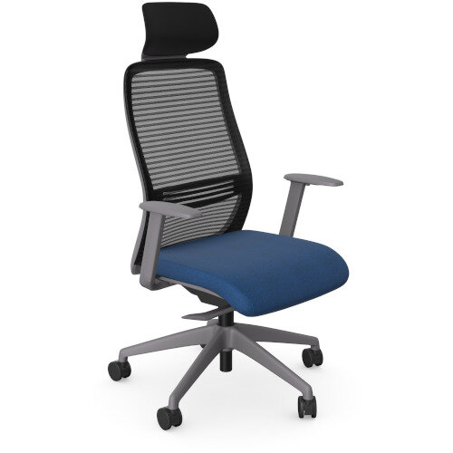 NV Posture Office Chair with Contoured Mesh Back and Adjustable Lumbar Support &Headrest Grey Frame Navy Blue Seat