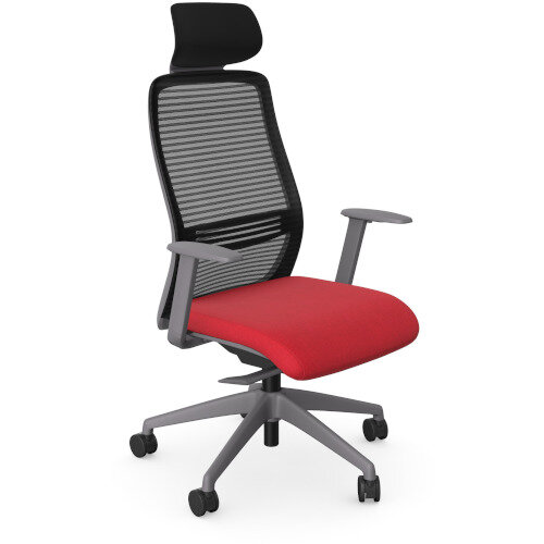 NV Posture Office Chair with Contoured Mesh Back and Adjustable Lumbar Support &Headrest Grey Frame Red Seat