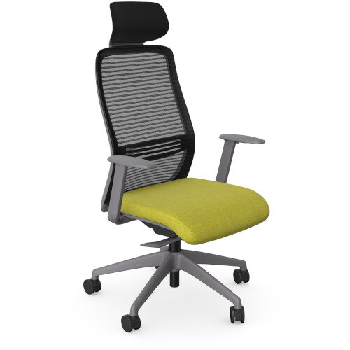 NV Posture Office Chair with Contoured Mesh Back and Adjustable Lumbar Support &Headrest Grey Frame Green Seat