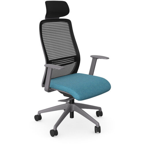 NV Posture Office Chair with Contoured Mesh Back and Adjustable Lumbar Support &Headrest Grey Frame Light Blue Seat