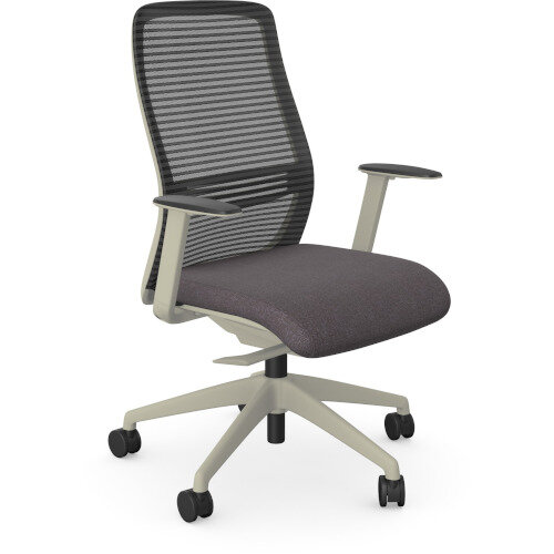 NV Posture Office Chair with Contoured Mesh Back and Adjustable Lumbar Support White Frame Grey Seat