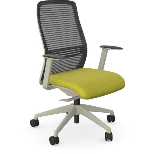 NV Posture Office Chair with Contoured Mesh Back and Adjustable Lumbar Support White Frame Green Seat