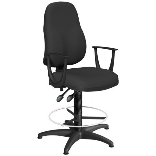 OA Series High Back Draughtsman Chair Black Fabric with Fixed Arms Arms 550-810mm High Base with Chrome Footring &Glides