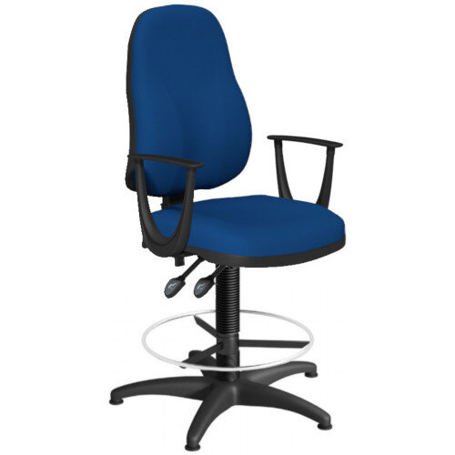 OA Series High Back Draughtsman Chair Blue Fabric with Fixed Arms Arms 550-810mm High Base with Chrome Footring &Glides